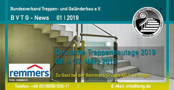 BVTG Newsletter 2019/01: Deutsche Treppenbautage 2019